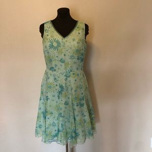 Garnet Hill Silk Dress Green Floral Size 12 p